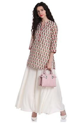 Womens V- Neck Printed A-Line Kurta