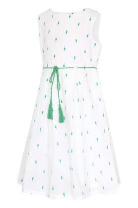 Girls Round Neck Printed Flared Dress