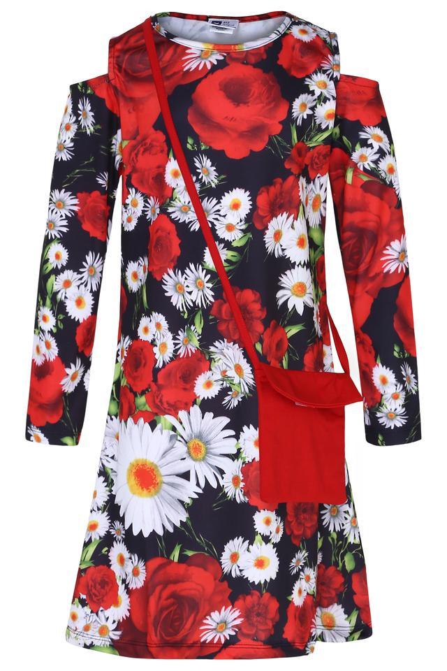 Girls Round Neck Floral Print Shift Dress with Sling Bag