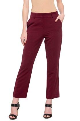 Womens 2 Pocket Solid Trousers