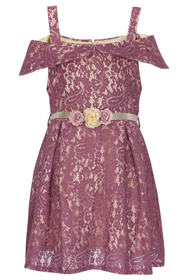 Girls Strappy Neck Lace Pleated Dress with Belt