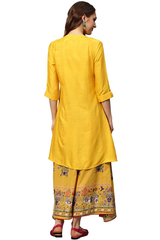 Womens Mandarin Collar Solid High Low Hemline Kurta