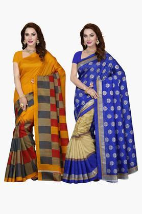 ISHIN Womens Bhagalpuri Art Silk Printed Saree - Set Of 2 - 203260389