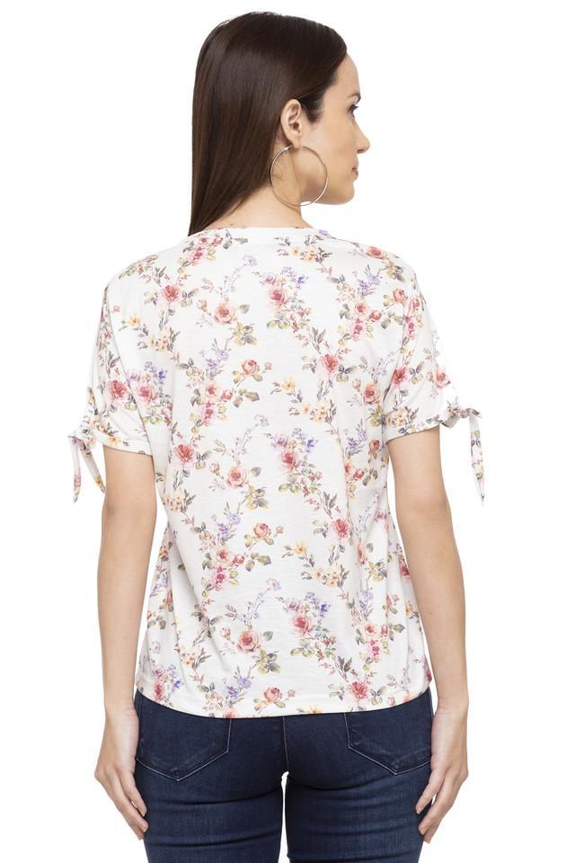 Womens V Neck Floral Print T-Shirt