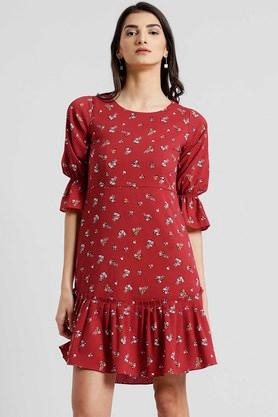 Womens Printed Drop Waist Dress