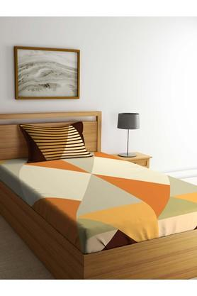 PORTICO Geometric Single Bed Sheet With Pillow Cover - 203990045_9900