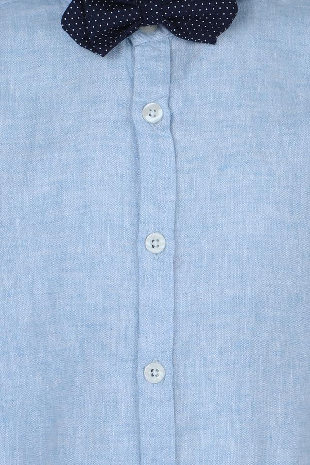 Boys Regular Collar Slub Shirt with Bow Tie