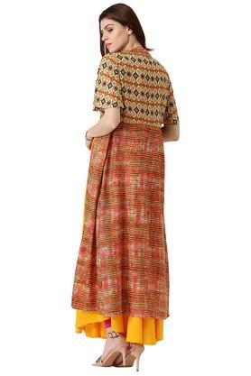 Womens Rayon Printed Anarkali Kurta With Ethnic Jacket