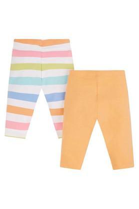 Girls Striped and Solid Full Length Leggings - Pack of 2