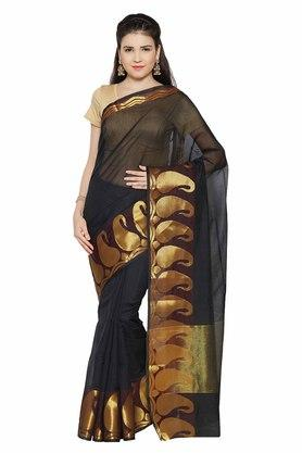 JASHN Womens Gold Woven Saree