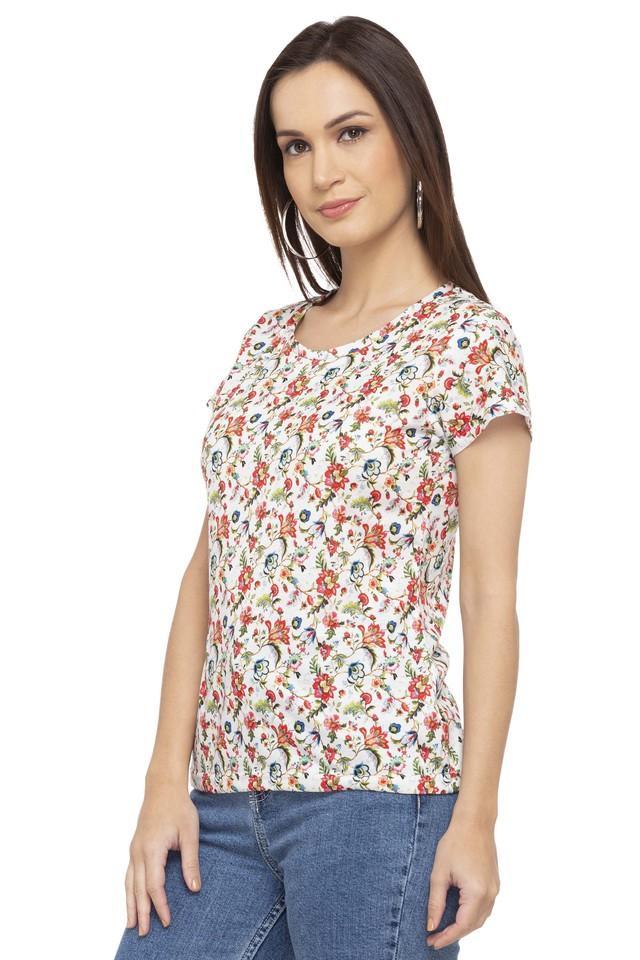 Womens Round Neck Floral Print T-Shirt