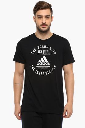 ADIDASMens Round Neck Graphic Print T-Shirt - 204404257_9212