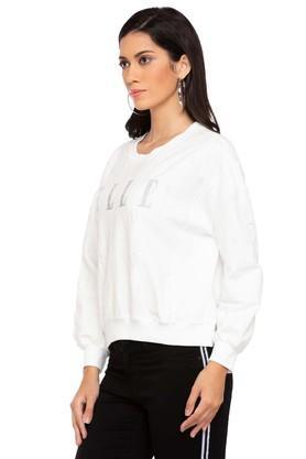Womens Round Neck Solid Embellished Sweatshirt