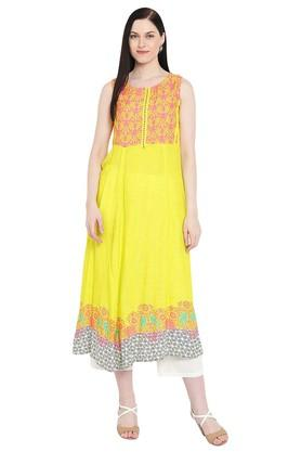 Womens Round Neck Printed Flared Kurta
