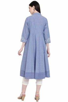 Womens Embroidered Flared Kurta
