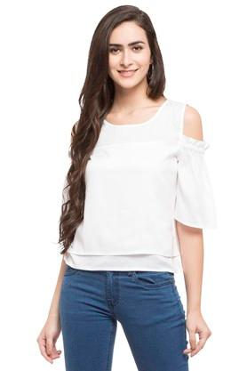 Womens Round Neck Solid Layered Top