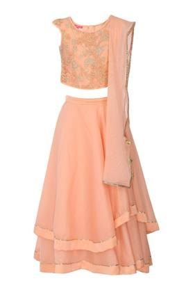 Girls Round Neck Embroidered Ghaghra Choli and Dupatta Set