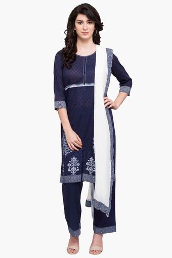 Womens Round Neck Printed Solid Pant Suit