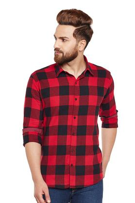 Mens Slim Fit Checked Casual Shirt