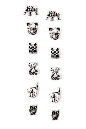 Womens Silver Plated Metal Studs Earrings - Pack Of 6