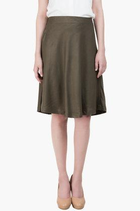 IDK Womens Regular Fit Solid Knee Length Skirt