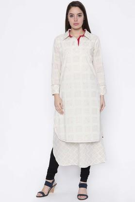 JASHN Pure Cotton Ethnic Motifs Shirt Collar Kurta