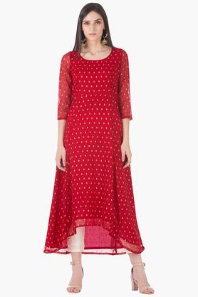 INDYAWomens Round Neck Printed Regular Fit Kurta - 203316755
