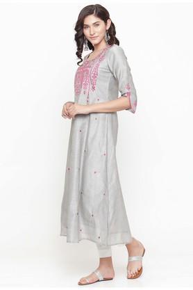 Women Silk Solid A-line Kurta
