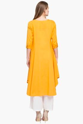 Womens Round Neck Solid Asymmetrical Kurta