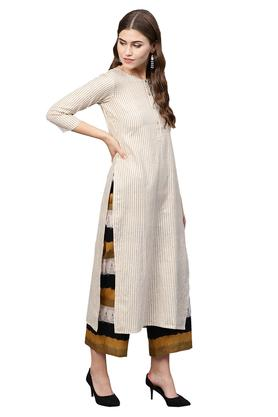 Womens Round Neck Striped Kurta Palazzo Set