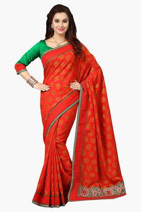 DEMARCA Womens Brasso And Faux Georgette Printed Saree