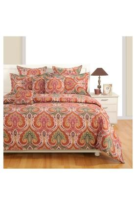 SWAYAMPrinted Double Bed Sheet, Comforter And Pillow Covers Set
