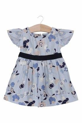 Girls Round Neck Printed Dress