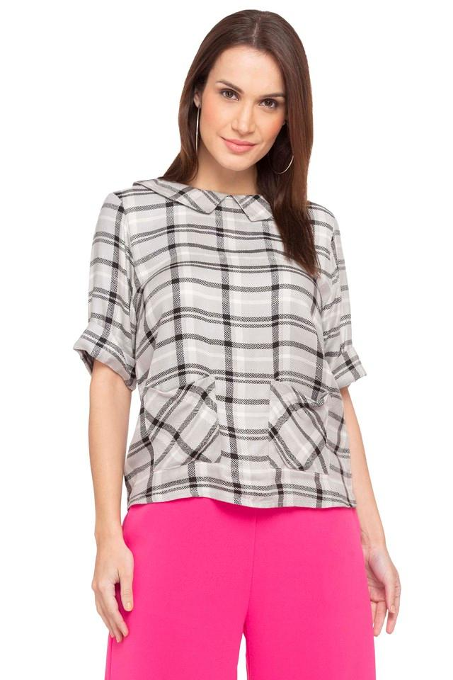 Womens Boat Neck Check Top