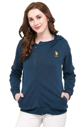 U.S. POLO ASSN.Womens Hooded Solid Sweatshirt