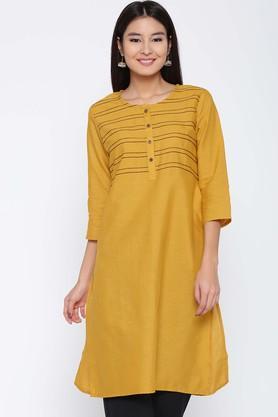 JASHNPure Cotton Solid Round Neck Kurta - 204127504_9418