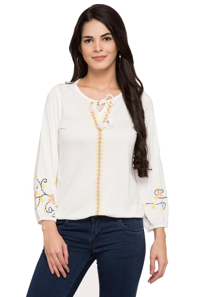 Womens Tie Up Neck Printed Top