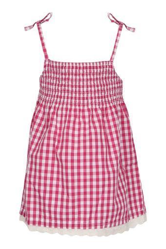 Girls Spaghetti Neck Checked A-Line Dress