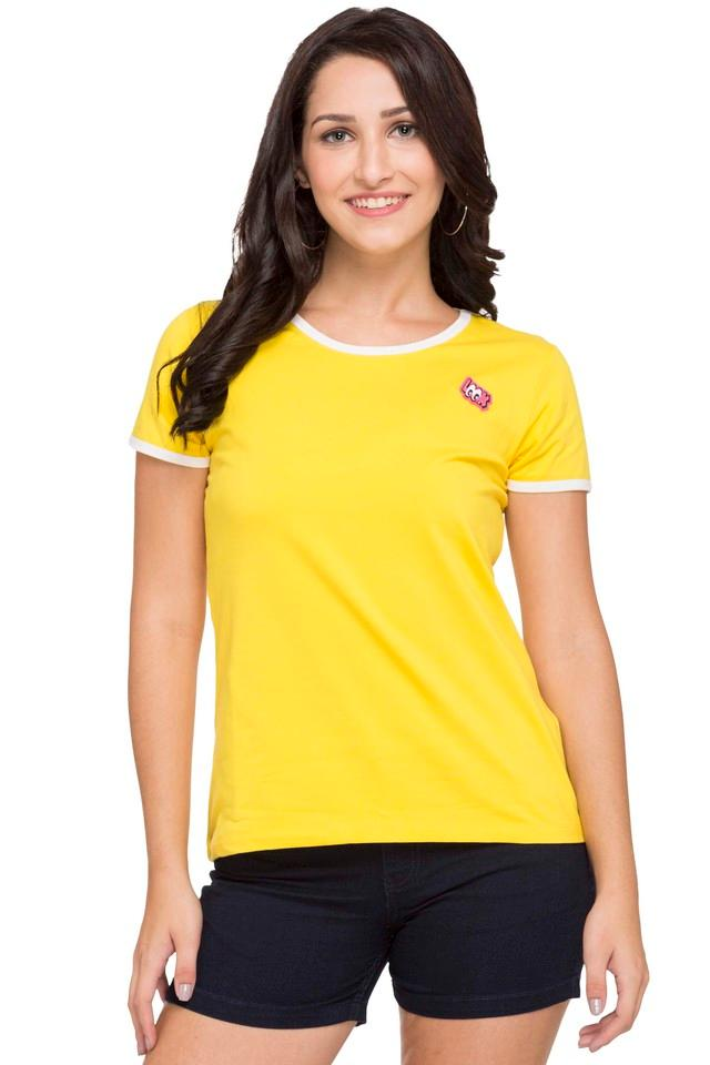 Womens Round Neck Solid Tee