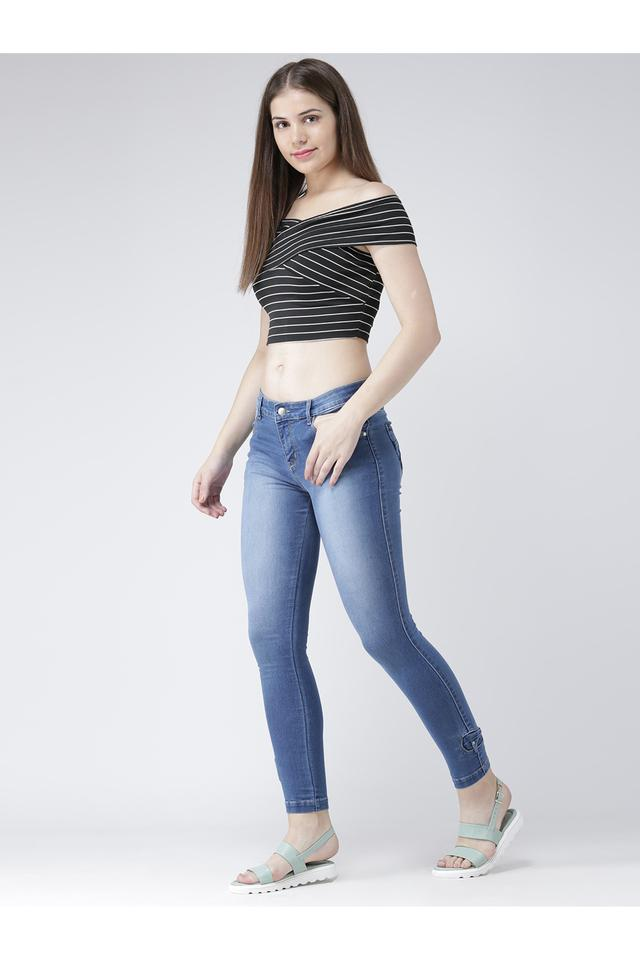 Womens Skinny Fit Mild Wash Jeans
