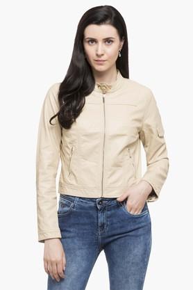U.S. POLO ASSN.Womens Mandarin Neck Solid Biker Jacket