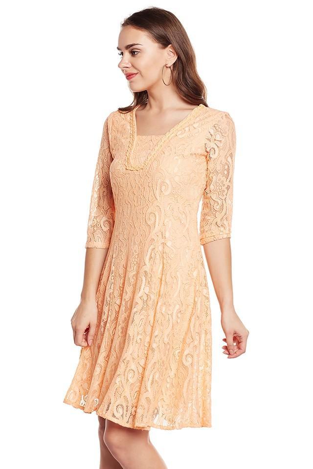 Womens Square Neck Knee Length Dress