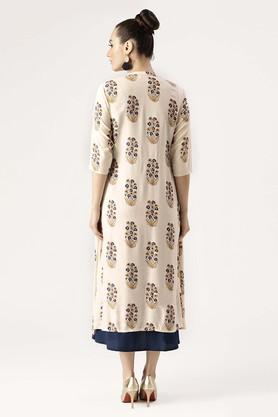 Womens Mandarin Neck Floral Print A-Line Dress