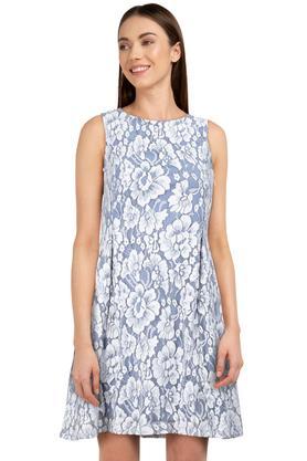 Womens Round Neck Floral Print A-Line Dress