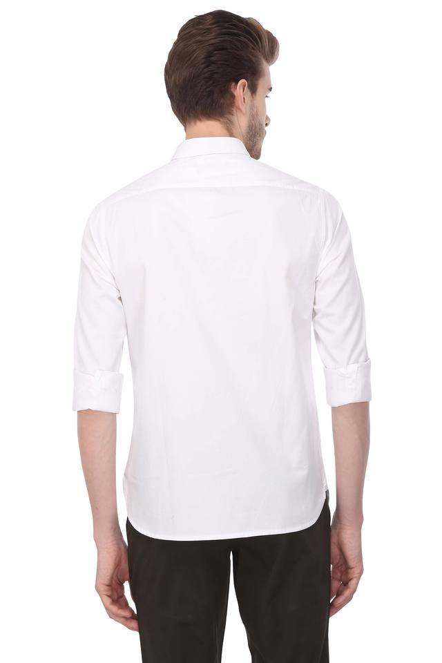 Mens Button Down Collar Solid Formal Shirt