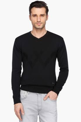 WROGNMens V Neck Solid Sweater