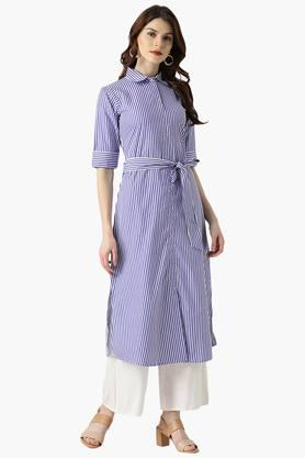 LIBAS Womens Stripes Cotton Blend A-Line Kurta With Belt