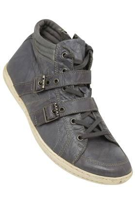 Mens Leather Lace Up with Buckle Closure Casual Shoes