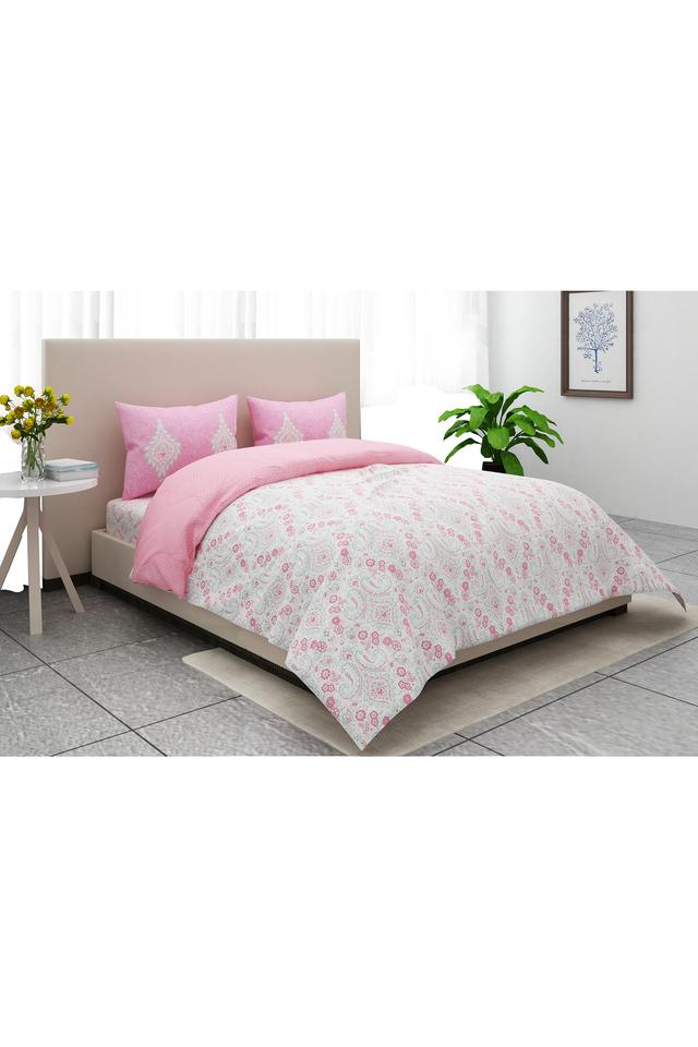 Jade Plus Printed King Bed Sheet with 2 Pillow Covers and 1 Comforter