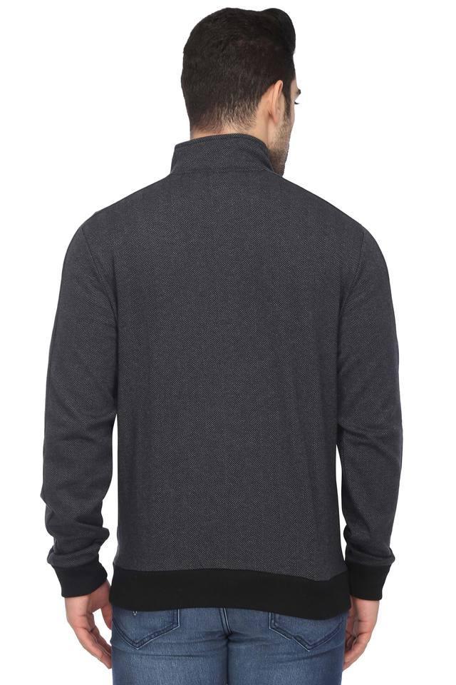 Mens Zip Through Neck Slub Jacket